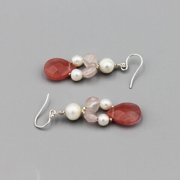Handmade Sterling Pink Cluster Earrings