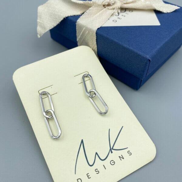 Sterling Paper Clip Earrings by MK Designs