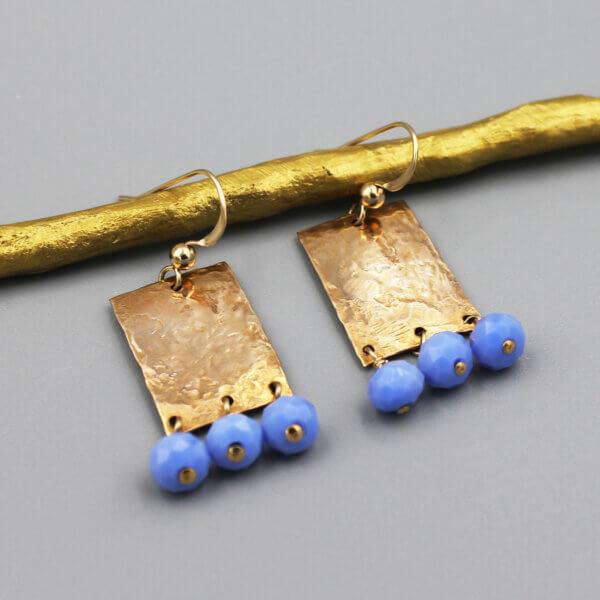 Hammered Bronze Periwinkle Earrings