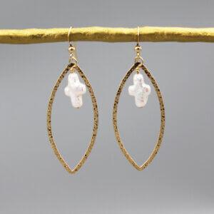 Gold Oval Pearl Cross Charm Earrings by MK Designs