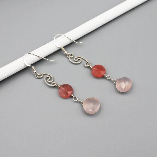 Assymetrical Sterling Pink Earrings