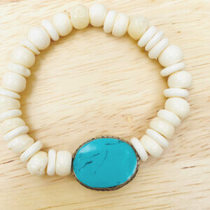 White and Turquoise Wood Bead Bracelet