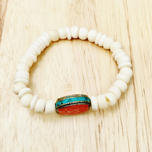 White and Coral Wood Bead Bracelet