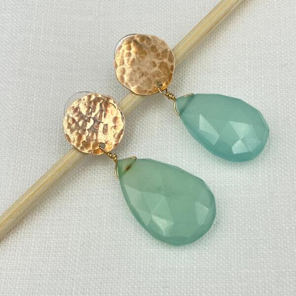 Blue Geometric Drop Earrings by MK Designs