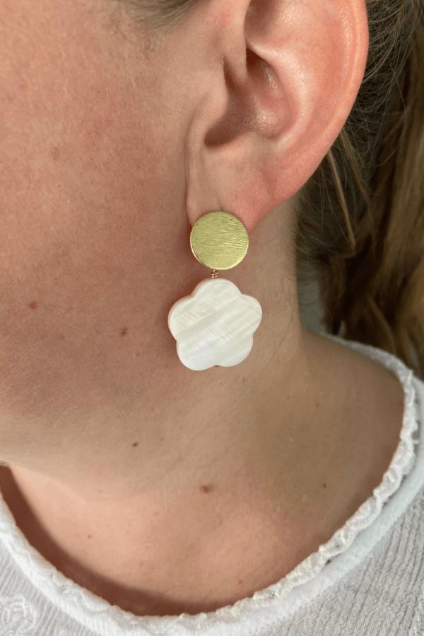 Pearl Flower Drop Earrings by MK Designs
