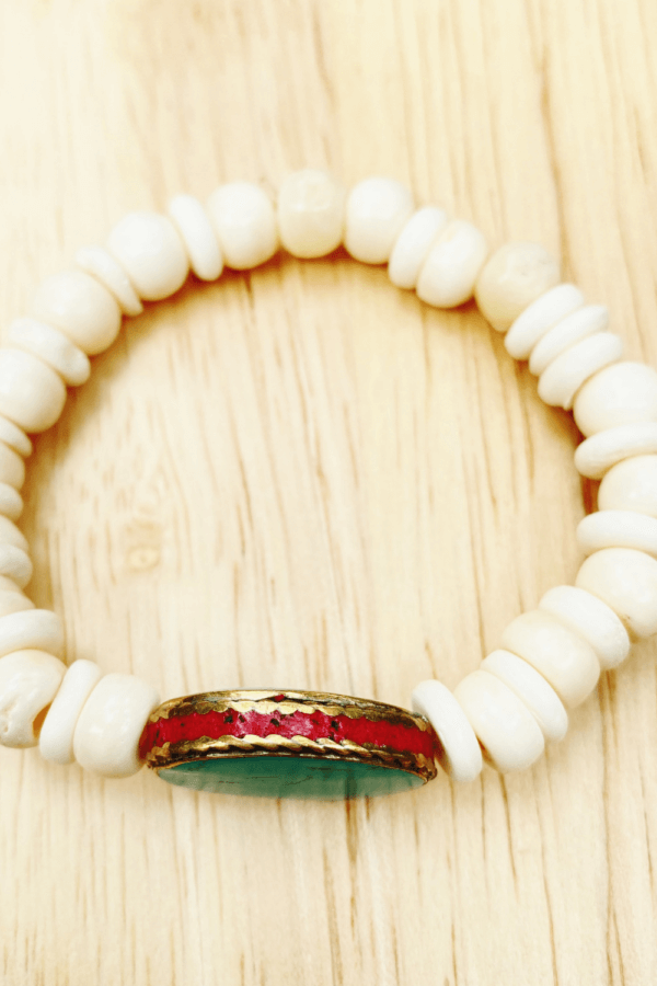 White and Turquoise Wood Bracelet by MK Designs